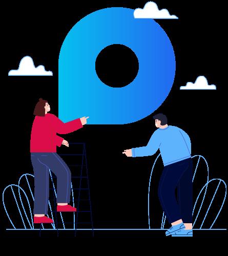 Ilustração de duas pessoas próximas ao logo da Provi